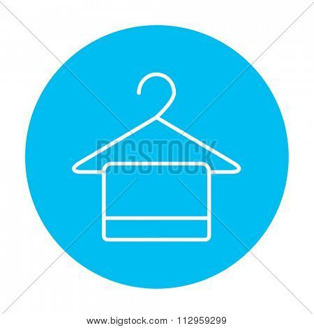 Towel on hanger line icon for web, mobile and infographics. Vector white icon on the light blue circle isolated on white background.