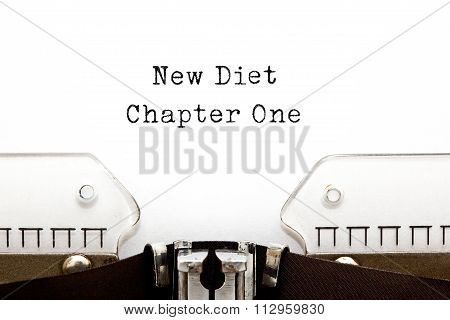 New Diet Chapter One Typewriter