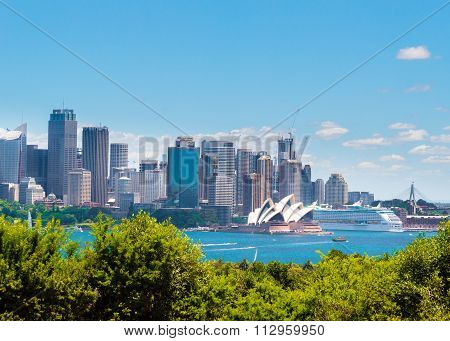 View over Opera House and Central Business District skyline