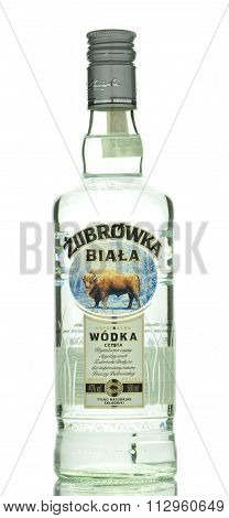 Zubrowka white vodka isolated on white background.