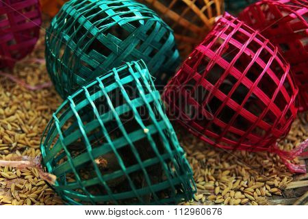sparrows trapped in colourful traps surrounded by seeds