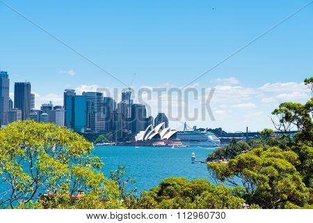 View over Opera House and Central Business District skyline in Sydney, Australia