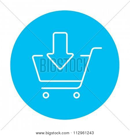 Shopping cart with down directed arrow line icon for web, mobile and infographics. Vector white icon on the light blue circle isolated on white background.