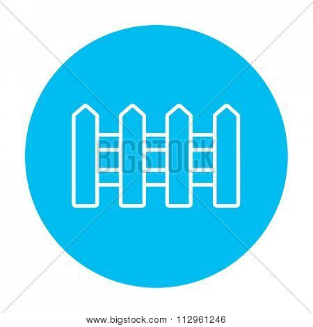 Fence line icon for web, mobile and infographics. Vector white icon on the light blue circle isolated on white background.