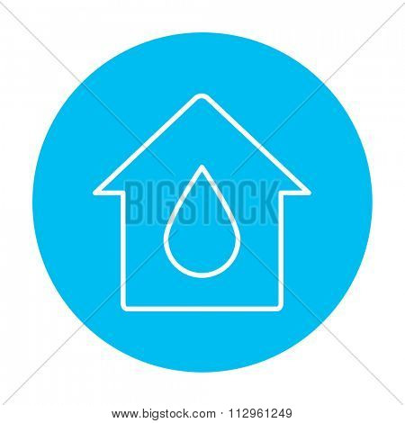 House with water drop line icon for web, mobile and infographics. Vector white icon on the light blue circle isolated on white background.