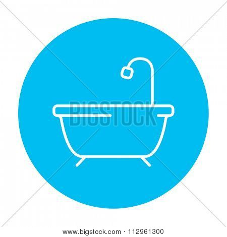Bathtub with shower line icon for web, mobile and infographics. Vector white icon on the light blue circle isolated on white background.