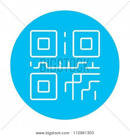 QR code line icon for web, mobile and infographics. Vector white icon on the light blue circle isolated on white background.