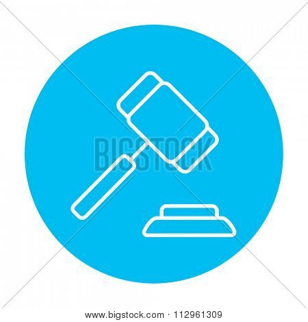 Auction gavel line icon for web, mobile and infographics. Vector white icon on the light blue circle isolated on white background.