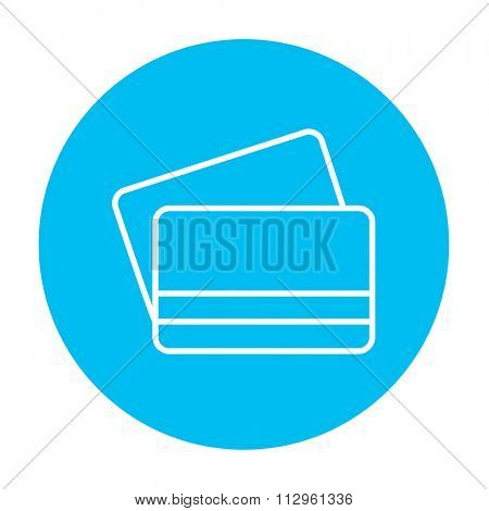 Credit cards line icon for web, mobile and infographics. Vector white icon on the light blue circle isolated on white background.