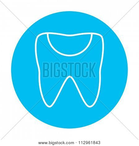 Tooth decay line icon for web, mobile and infographics. Vector white icon on the light blue circle isolated on white background.