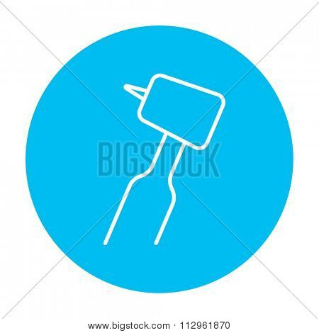Dental drill line icon for web, mobile and infographics. Vector white icon on the light blue circle isolated on white background.