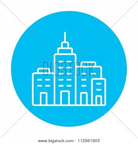 Residential buildings line icon for web, mobile and infographics. Vector white icon on the light blue circle isolated on white background.