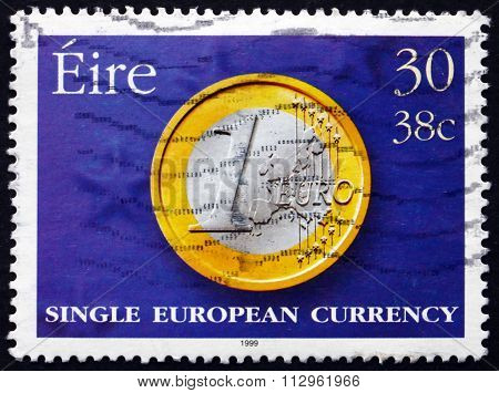 Postage Stamp Ireland 1999 Introduction Of The Euro, Currency
