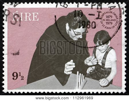 Postage Stamp Ireland 1979 Hospitaler Brother Teaching Child
