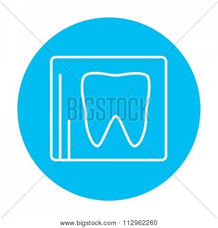 X-ray of the tooth line icon for web, mobile and infographics. Vector white icon on the light blue circle isolated on white background.