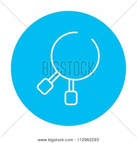 Dental pliers line icon for web, mobile and infographics. Vector white icon on the light blue circle isolated on white background.