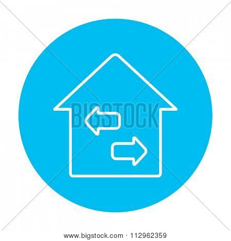 Property resale line icon for web, mobile and infographics. Vector white icon on the light blue circle isolated on white background.