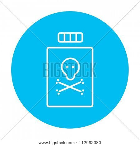 Bottle of poison line icon for web, mobile and infographics. Vector white icon on the light blue circle isolated on white background.