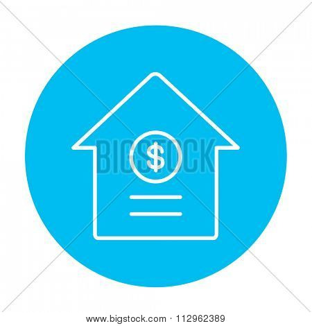House with dollar symbol line icon for web, mobile and infographics. Vector white icon on the light blue circle isolated on white background.