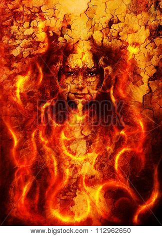 beautiful illustration woman and mandala in fire, with birds phoenix on your face, on multicolor bac