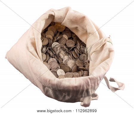 Cloth Money Bag Containing Thousands Of Sterling Silver Dimes