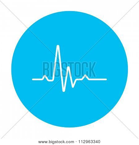 heart beat cardiogram line icon for web, mobile and infographics. Vector white icon on the light blue circle isolated on white background.
