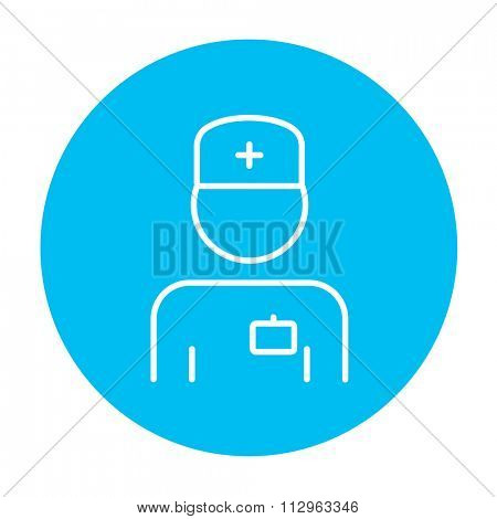 Nurse line icon for web, mobile and infographics. Vector white icon on the light blue circle isolated on white background.