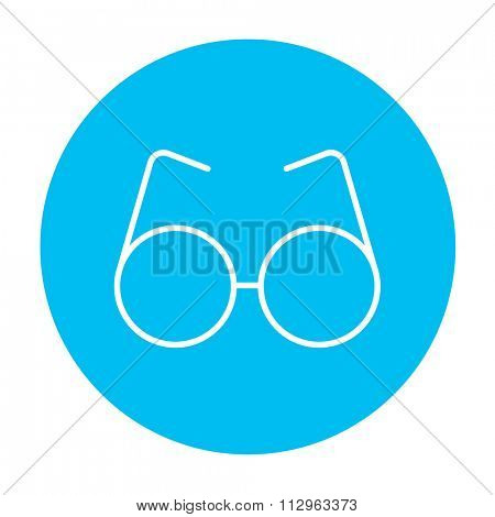 Eyeglasses line icon for web, mobile and infographics. Vector white icon on the light blue circle isolated on white background.