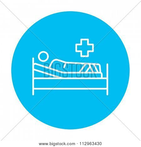 Patient lying on the bed line icon for web, mobile and infographics. Vector white icon on the light blue circle isolated on white background.