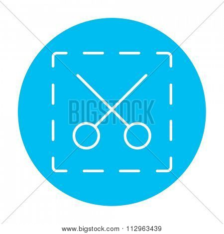 Scissors with dotted lines line icon for web, mobile and infographics. Vector white icon on the light blue circle isolated on white background.