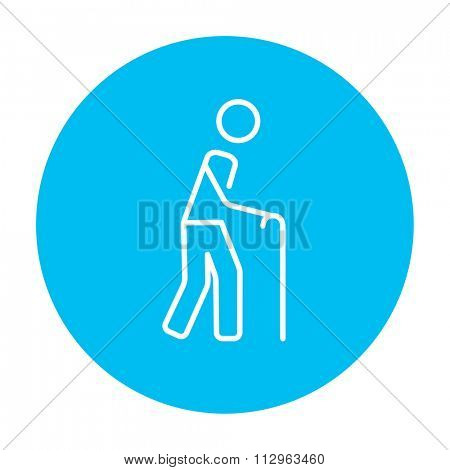 Man walking with cane line icon for web, mobile and infographics. Vector white icon on the light blue circle isolated on white background.