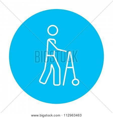Man with walker line icon for web, mobile and infographics. Vector white icon on the light blue circle isolated on white background.