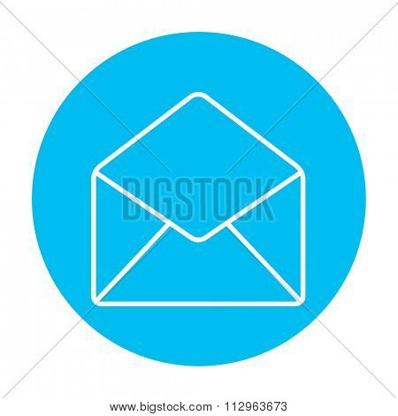 Envelope line icon for web, mobile and infographics. Vector white icon on the light blue circle isolated on white background.