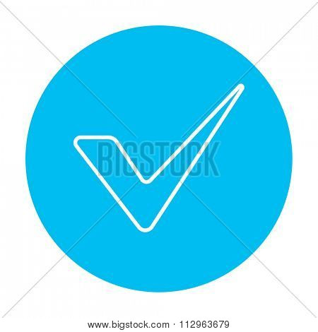 Tick line icon for web, mobile and infographics. Vector white icon on the light blue circle isolated on white background.