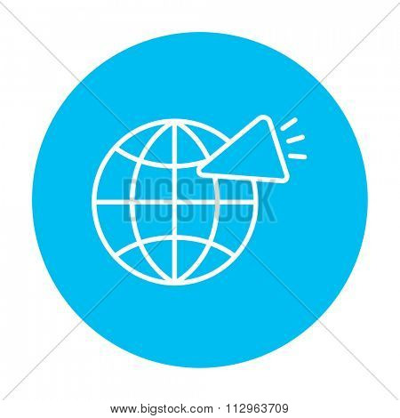 Globe with loudspeaker line icon for web, mobile and infographics. Vector white icon on the light blue circle isolated on white background.