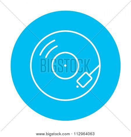 Turntable line icon for web, mobile and infographics. Vector white icon on the light blue circle isolated on white background.
