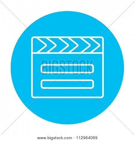 Clapboard line icon for web, mobile and infographics. Vector white icon on the light blue circle isolated on white background.