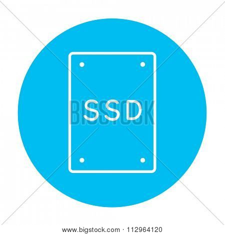 Solid state drive line icon for web, mobile and infographics. Vector white icon on the light blue circle isolated on white background.