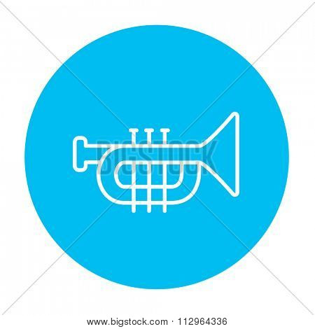 Trumpet line icon for web, mobile and infographics. Vector white icon on the light blue circle isolated on white background.