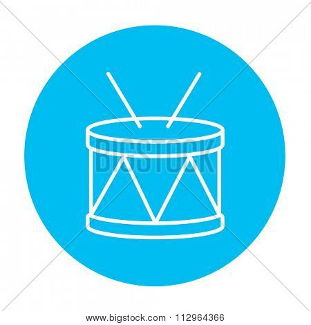 Drum with sticks line icon for web, mobile and infographics. Vector white icon on the light blue circle isolated on white background.