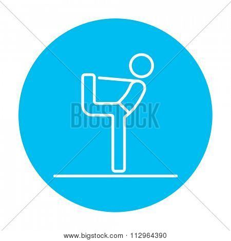 Man in yoga pose nataradzhasana line icon for web, mobile and infographics. Vector white icon on the light blue circle isolated on white background.