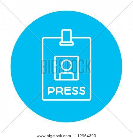 Press pass ID card line icon for web, mobile and infographics. Vector white icon on the light blue circle isolated on white background.