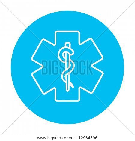 Medical symbol line icon for web, mobile and infographics. Vector white icon on the light blue circle isolated on white background.