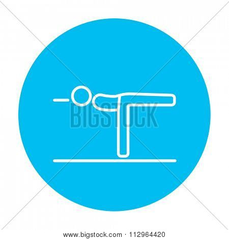 Man in the virabhadrasana III pose line icon for web, mobile and infographics. Vector white icon on the light blue circle isolated on white background.