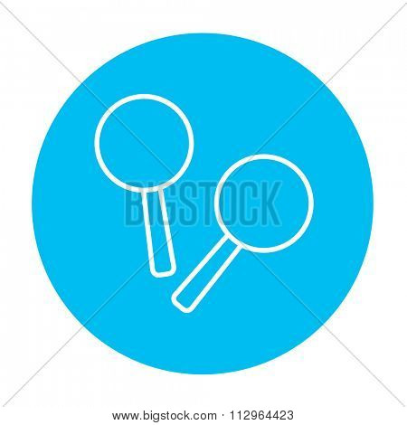 Maracas line icon for web, mobile and infographics. Vector white icon on the light blue circle isolated on white background.