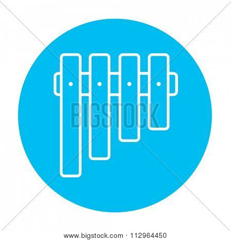 Vibraphone line icon for web, mobile and infographics. Vector white icon on the light blue circle isolated on white background.