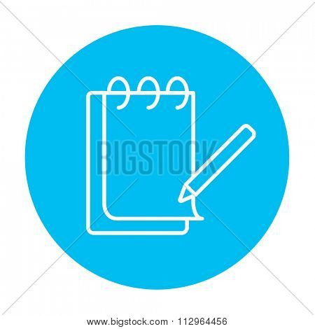 Notepad with pencil line icon for web, mobile and infographics. Vector white icon on the light blue circle isolated on white background.