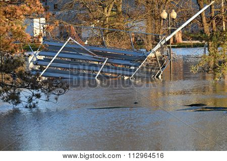VALLEY PARK, MO/USA  JANUARY 1, 2016: Flood waters near the Meramec River flood nearby park in old town Fenton.