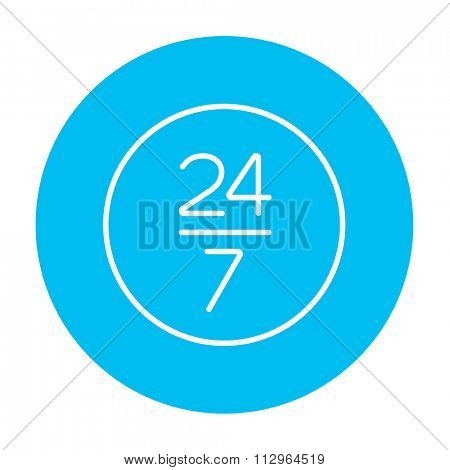 Open 24 hours and 7 days in wheek sign line icon for web, mobile and infographics. Vector white icon on the light blue circle isolated on white background.
