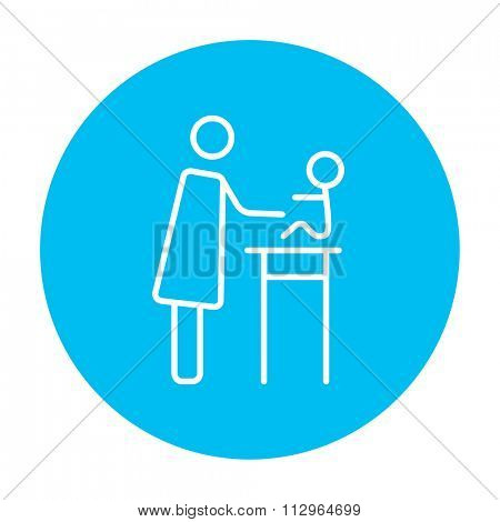 Woman taking care of the baby line icon for web, mobile and infographics. Vector white icon on the light blue circle isolated on white background.